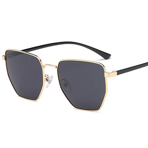 Yiph-Sunglass Sonnenbrillen Mode Stil Unisex Protective Mens Ladies Polygonal Sonnenbrille (Farbe : Gold Frame Gray)