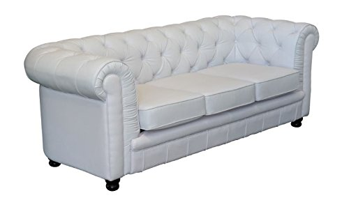 Vintage Sofa Oxford Chesterfield 3 Sitzer weiss