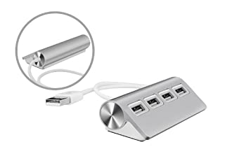"UtechSmart Premium 4 Port Aluminum USB Hub (11.81"" cable) for iMac, MacBook, MacBook Pro, MacBook Air, and Mac Mini- Silver (B00GUEFS5C) 