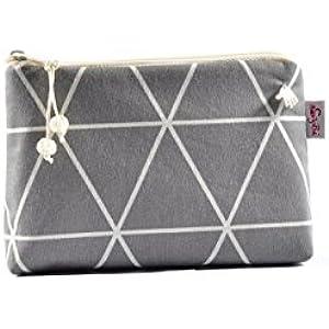 kleine Kosmetiktasche mit Dreiecken in grau und wollweiß