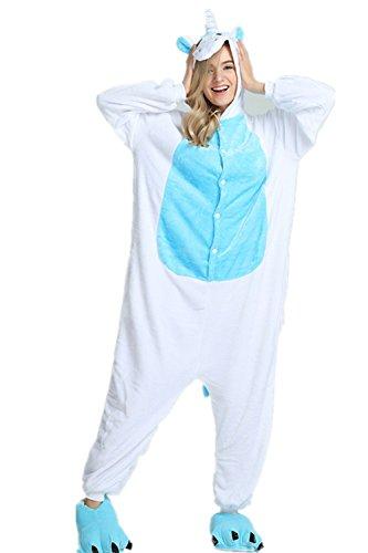 afanzug Einhorn Pyjamas Tier Overall Karikatur Neuheit Jumpsuit Kostüme für Erwachsene Kinder Weihnachten Karneval Cosplay Strampelanzug (M, Blau) (Ding 1 Ding 2 Kostüme Für Erwachsene)