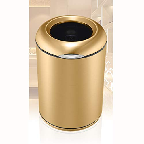QYLOZ Ablagebehälter ohne Deckel Edelstahl-Mülleimer/Fasskörper integriert/Sockel kann gegen Fingerabdruck 8L gedreht (Color : Gold) (Mini-kuchen-sockel Gold)