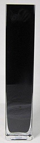 INNA Glas Set 2 x Bodenvase Leon, Quader/viereckig, schwarz, 10x10x50cm - Standvase/Große Vase