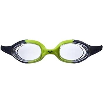 35a7ffb8e4b2b arena Kinder Unisex Training Wettkampf Schwimmbrille Spider Junior  (UV-Schutz, Anti-Fog, Harte Gläser), Navy-Clear-Citronella (71), One Size