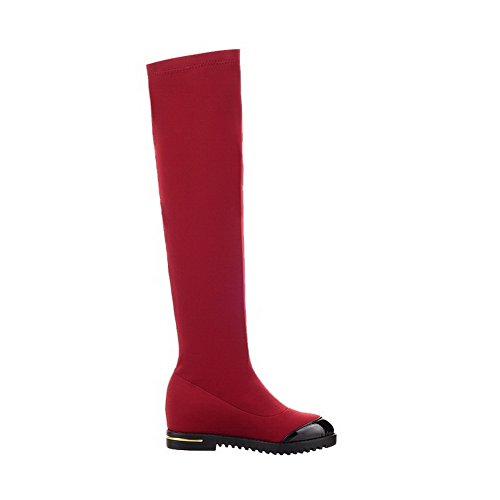 Gemischte Damen Absatz Hoch spitze Stiefel Farbe Auf Ziehen Mittler Rot Allhqfashion dXwqO7q