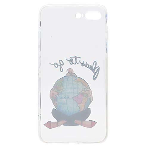 Cover iPhone 7s Plus Silicone, LuckyW TPU Silicone Custodia per Apple iPhone 7 Plus/7S Plus (5.5 pollice) Colorful Pattern Design Transparente Gomma Gel Clear Limpido Bumper Case Cover Ultra Sottile U Globo