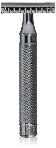 MÜHLE - Klassischer Rasierhobel GRANDE - offener Kamm - Griff Metall verchromt / feine Ziselierung