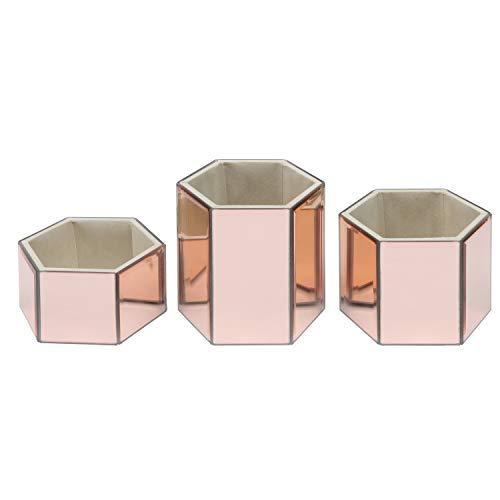 Kosmetik Organizer (3 Pack) - Rosegold, Sechseck Geformt Aufbewahrungsbehälter für Kosmetikpinsel und Schmuckzubehör - Große, Mittlere und Kleine Make-up-Halter für Den Frisiertisch