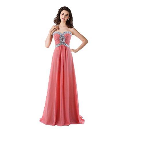Vimans® elegante lungo Sweetheart pieghettato chiffon Prom abiti da sera per donne Coral