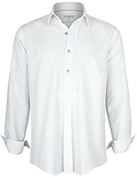 Almsach Herren Schlupfhemd Weiß mit Rot-Weiß Kariertem Unterkragen, Weiß,