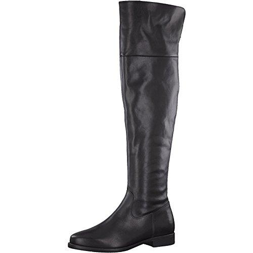 Tamaris Damen Stiefel 25516-31,Frauen Boots,Lederstiefel,Langschaftstiefel,Reißverschluss,Blockabsatz 2.5cm,Black,EU 41
