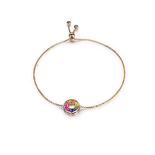 18 Karat Roségold Natürlicher Rubin Saphir Diamant Edelstein Kette Armbänder mit Regenbogen Design Verstellbar Ketten Modeschmuck für Freundin Frau Mutter