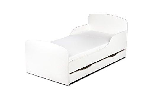 Letto lettino per bambini in legno cassetto cassettone e materasso magnifiche stampe dimensioni 140x70 colore bianco stile scandinavo