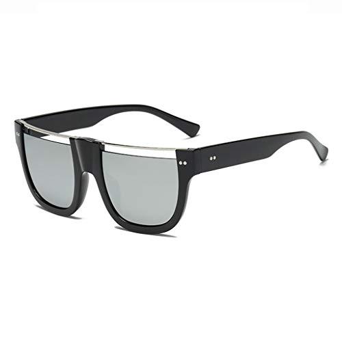 DX Quadratische Hohle Art- und Weisebunte Flache Augenbrauen-Form-halber Rahmen-im Freienkomfort-UVschutz-Gläser polarisierte Schatten-Gläser (Farbe: Silberne Linse des schwarzen Rahmens)