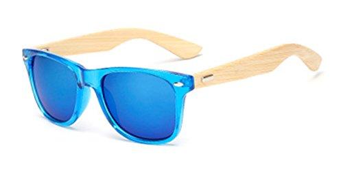 TIJN Viereckig Sonnenbrille Bamboo Holz Brillenbügel Getönte Linse