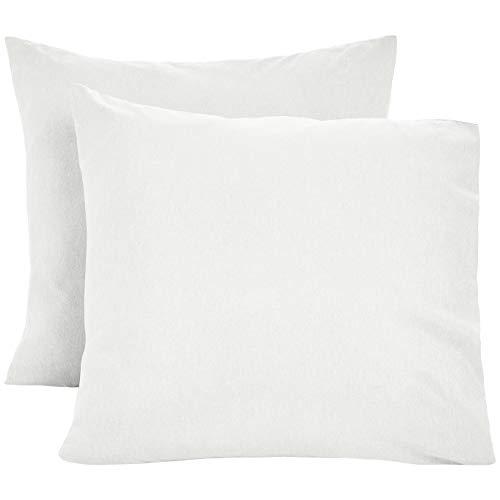 Stoff Kissenbezug (AmazonBasics Kissenbezüge, Mikrofaser, melierter Stoff, 2er-Set, 80 x 80 cm, Grau (Soft Grey))
