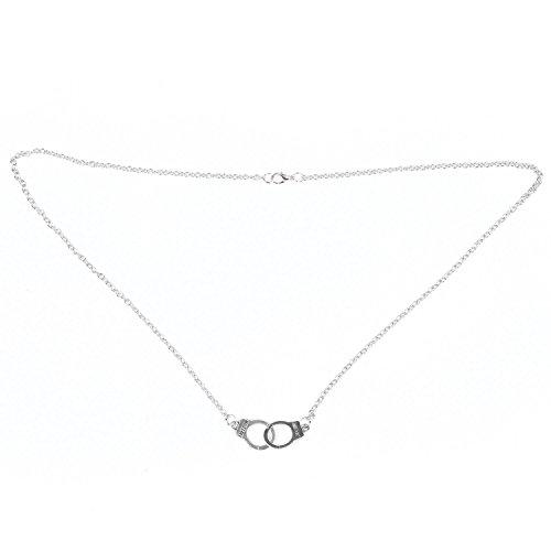 TOOGOO(R) Silberne Kette mit Handschellen Anhaenger Halskette