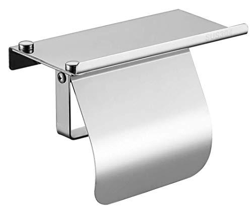 AQJD Toilettenpapierhalter, Wandhalterung, mit Telefonablage und Abdeckung, SUS 304 Edelstahl, Schwarz glänzend