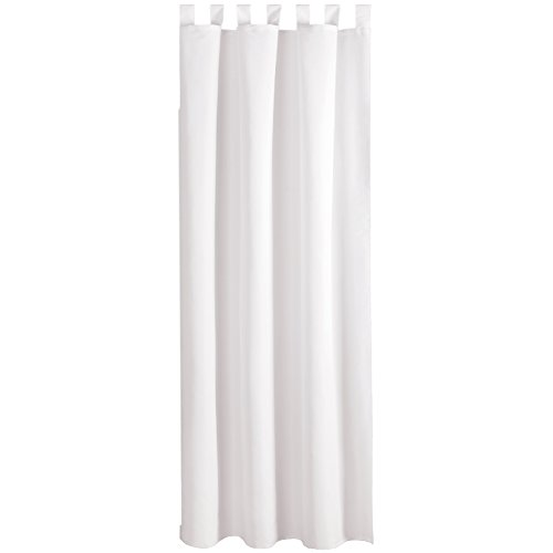 Bestlivings Gardine Vorhang blickdicht modern mit Schlaufen Schlaufenschal Mikrosatin matt, in vielen verschiedenen Farben und Größen, Auswahl WEISS in der Größe: B-140cm x L-145cm