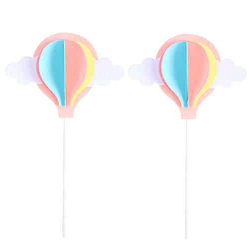Amosfun 3D Weiße Wolke Heißluftballon Cake Topper Kuchen Picks für Hochzeit Baby Shower Birthday Party Favors 2 STÜCKE (Rosa)