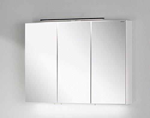Fackelmann LED Spiegelschrank VADEA / Spiegelschrank zum Aufhängen / Badmöbel / Maße (BxHxT): ca. 90 x 68 x 16 cm / Farbe Weiß Hochglanz / Breite 90 cm / Badspiegel / Spiegelschrank fürs Bad