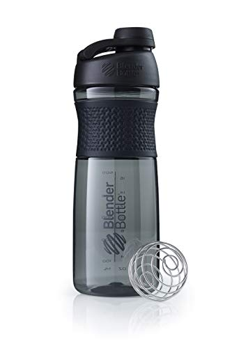 BlenderBottle Sportmixer Twist Tritan/Protein/Fitness Shaker mit BlenderBall (BPA frei), 820ml - black/black