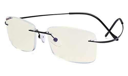 Eyekepper Randlose Blaulichtfilter Computer Brille Herren - UV schutz Titan Bildschirmschutz Leserbillen - Schwarz +2.50
