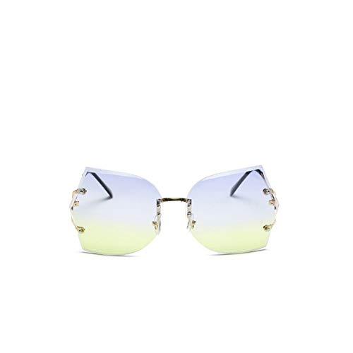 Chudanba Art- und Weiserandlose Sonnenbrille-Frauen- Steigungsobjektiv- Sonnenbrille- weibliche Dame Shades Eyewear UV400,Gold Blue Green