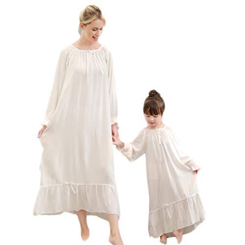 Gagacity Nachthemden Damen und Mädchen Langarm 100% Weich Familien Schlafanzug Lang Nightdress Sleepwear