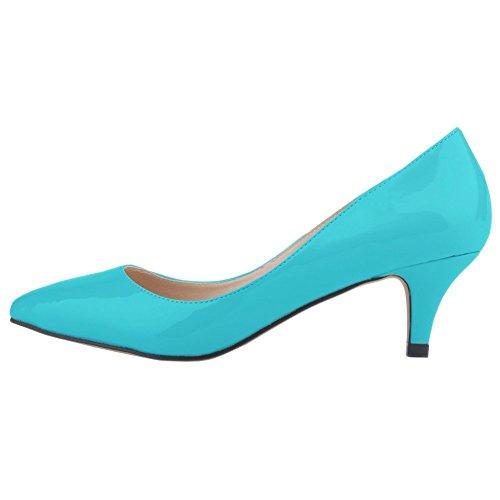 EKS , Escarpins femme Bleu - Light Blau-Lackleder