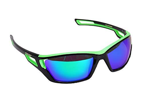 NOBLEND Sport Sonnenbrillen - Qualität aus Österreich zum top Preis. Passgenau hoher Tragekomfort und hoher UV Schutz! Verspiegelt | Grün/Schwarz