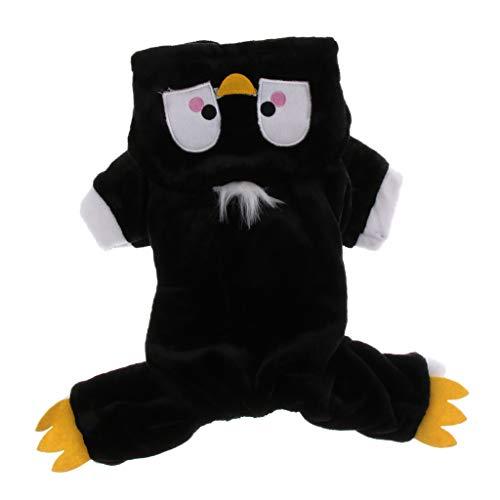 perfk Pinguin Kostüm Hunde Cosplay Kleidung Hundemantel mit Kapuze für Halloween Karneval - Schwarz, L