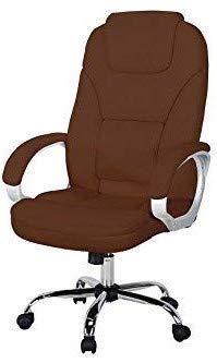 Miweba Bürostuhl Comfort aus Kunstleder mit extra gepolsterter Kopfstütze und Wippautomatik Chefsessel Büro Gamingstuhl Schreibtischstuhl Drehstuhl Design Stuhl (Braun)