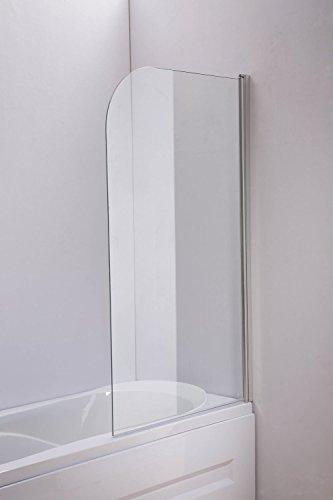 CLP Duschabtrennung Badewanne, Badewannenaufsatz Nano Echt Glas (ESG Sicherheitsglas) schwenkbar klarglas, 140 cm x 80 cm