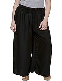 SGL-Zoya_Women's Rayon Plazo_BLACK # 28_PLUS SIZE (Fits 3XL To 5XL) -Superb Quality_Skin Friendly_Bubble Free_...