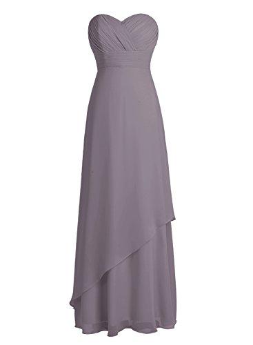 Bbonlinedress Robe de cérémonie Robe de demoiselle d'honneur en mousseline longueur ras du sol Gris