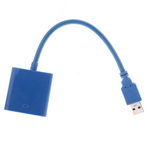 Andoer USB 3,0 per VGA Adattatore Multi-Display USB Convertitore Video-scheda video esterna, Blu