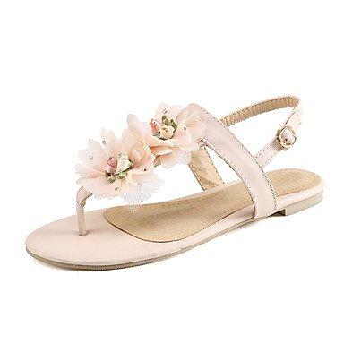 Sommer Schuhe Damen Sandalen Outddor Kleid-Kunstleder-Flacher Absatz-Komfort Mary Jane Leuchtende Sohlen-Weiß Gelb Rot Rosa Red