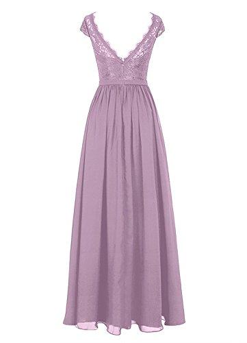 Carnivalprom Damen Spitze Abendkleider Lang V-Ausschnitt Hochzeitskleider Maxikleider Erröten