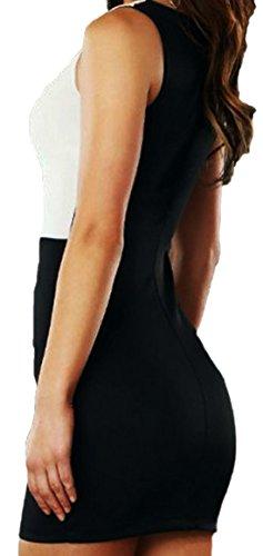 erdbeerloft - Damen Mädchen Mini-Kleid mit raffiniertem Muster, Größe 36-38 rot-weiß schwarz-weiß Schwarz