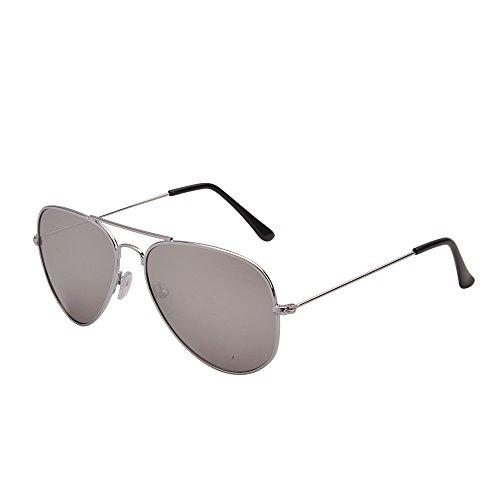 JM Retro Spiegel Flieger Sonnenbrille Blitz Getönt Linse Brille für Damen Herren UV400(Silber/Silber)