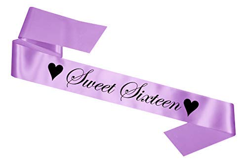 Sweet Sixteen Birthday Sash: 16th Party Gift 16 Sixteenth - SB1002 - Lilac