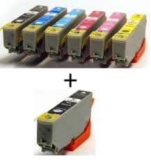 Odyssey Supplies Compatible ink cartridges T243824XL Compatible with Epson Inkjet Photo Printer XP-750& XP-850 - 7 pack (1 set + 1 black)