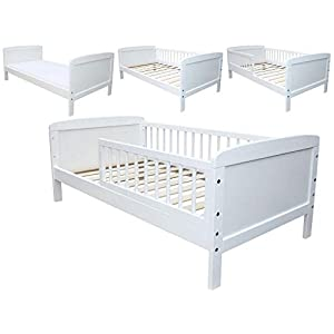 Micoland Kinderbett Juniorbett 140×70 cm umbaubar Weiss