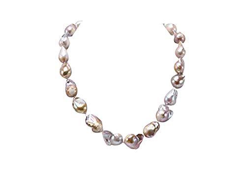 JYX perlen barock Barock Halskette von 12-13,5 mm Breite Lavendel Edison Süßwasser Perlenkette 18,5 Zoll für Frauen