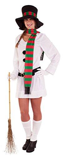 Karneval Klamotten Schneemann Kostüm Damen Schneefrau Damen-Kostüm Erwachsene mit Hut Schal Gürtel Weihnachten Karneval Damenkostüm Größe 36/38