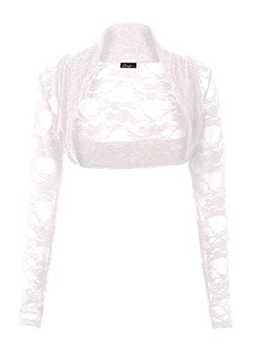 Frauen Frauen Lange Ärmel Blumenspitze Vorne Offen Boleroshrug (Schulterzucken Weiß)