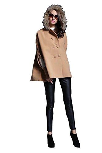 Damen Wolle und Kaschmir Mantel Jacken Poncho Cape Mit Kapuze (Pullover Wolle Belted)