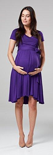 Happy Mama.Damen 2in1 Umstands Gerafften Stillkleid Doppelschicht Kurzarm.598p (Lila) - 6
