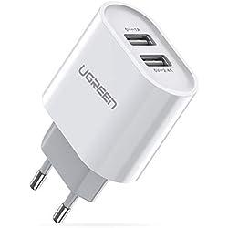 UGREEN Chargeur Secteur USB 2 Ports Adaptateur Secteur Universel avec Technologie Intelligente 17W 3.4A Compatible avec iPhone 11 XR X XS X 8 Plus iPad Samsung Xiaomi Téléphones Tablettes (Blanc)